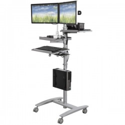 Beta Adjustable Height Sit or Stand Cart with Dual LCD Mount